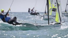 20150610 Copyright onEdition 2015©  credit: onEdition  Victor Bergstrom and Victor Vasternas, SWE, Men's Skiff (49er) on day one of the ISAF Sailing World Cup Weymouth & Portland.  Returning to the London 2012 Olympic waters, the ISAF Sailing World Cup Weymouth and Portland is taking place between 8-14 June with the racing conducted over five days between 10-14 June at Weymouth and Portland National Sailing Academy. Medal race day on Sunday 14 June will decide the overall event winners in each class.