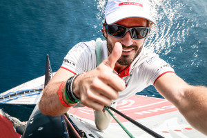 5 October, 2014. HRH Prince Carl Philip of Sweden takes a selfie on top of the mast of Dongfeng Race Team before the ProAm Race for the Volvo Ocean Race.
