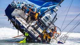 November 30, 2014. Team Vestas Wind's boat grounded on the Cargados Carajos Shoals, Mauritius, in the Indian Ocean. Fortunately, no one has been injured. In this image, the crew head back to the boat to retrieve everything they can; including ropes, diesel, Inmarsat dome and sails.  Brian Carlin/Team Vestas Wind/Volvo Ocean Race