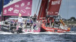 June 14, 2015. Lorient SCA In-Port Race: Team SCA and MAPFRE crash Credit: Ainhoa Sanchez / Volvo Ocean Race