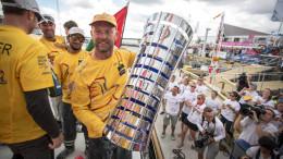 June 22, 2015.  Abu Dhabi Ocean Racing winners of the Volvo Ocean Race 2014-15.  Photo: Matt Knighton