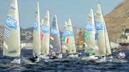 Rio de Janeiro - Olympic 2016 - Close finish Race 8 Photo: Robert Deaves (C) Finnclass