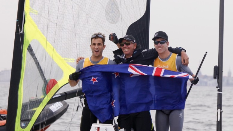 Burling and Tuke celebrate with coach Hamish Willcox The Rio 2016 Olympic Sailing Competition ©Sailing Energy / World Sailing