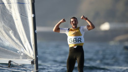 Giles Scott celebrates  The Rio 2016 Olympic Sailing Competition ©Sailing Energy / World Sailing
