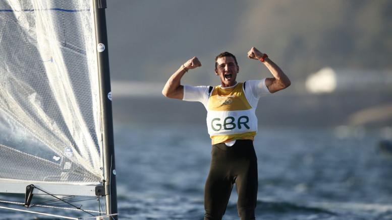 Giles Scott celebrates  The Rio 2016 Olympic Sailing Competition ©Sailing Energy / World Sailing
