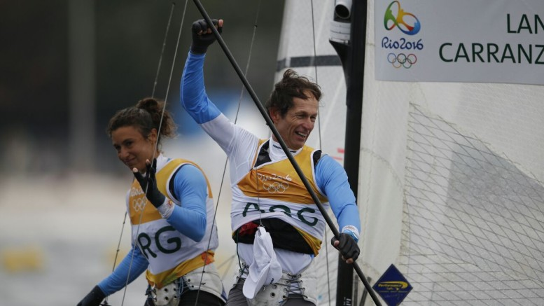 Santiago Lange celebrates with Cecilia Carranza Saroli  The Rio 2016 Olympic Sailing Competition ©Sailing Energy / World Sailing